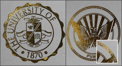 Custom Gold Foil Seals For Fake Diplomas And Fake Transcripts - Custom gold foil stickers