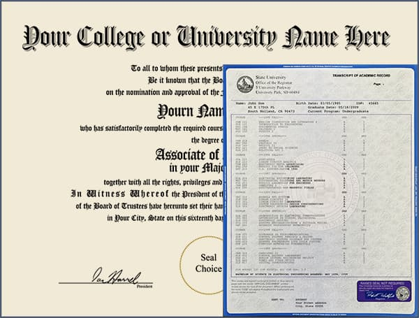 College Diploma - Design 1 with Transcripts COLLEGE_DIPLOMA_NDWT_01