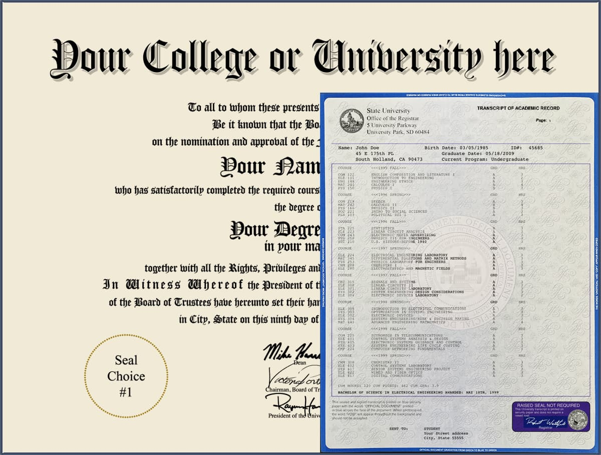 College Diploma - Design 2 with Transcripts COLLEGE_DIPLOMA_NDWT_02