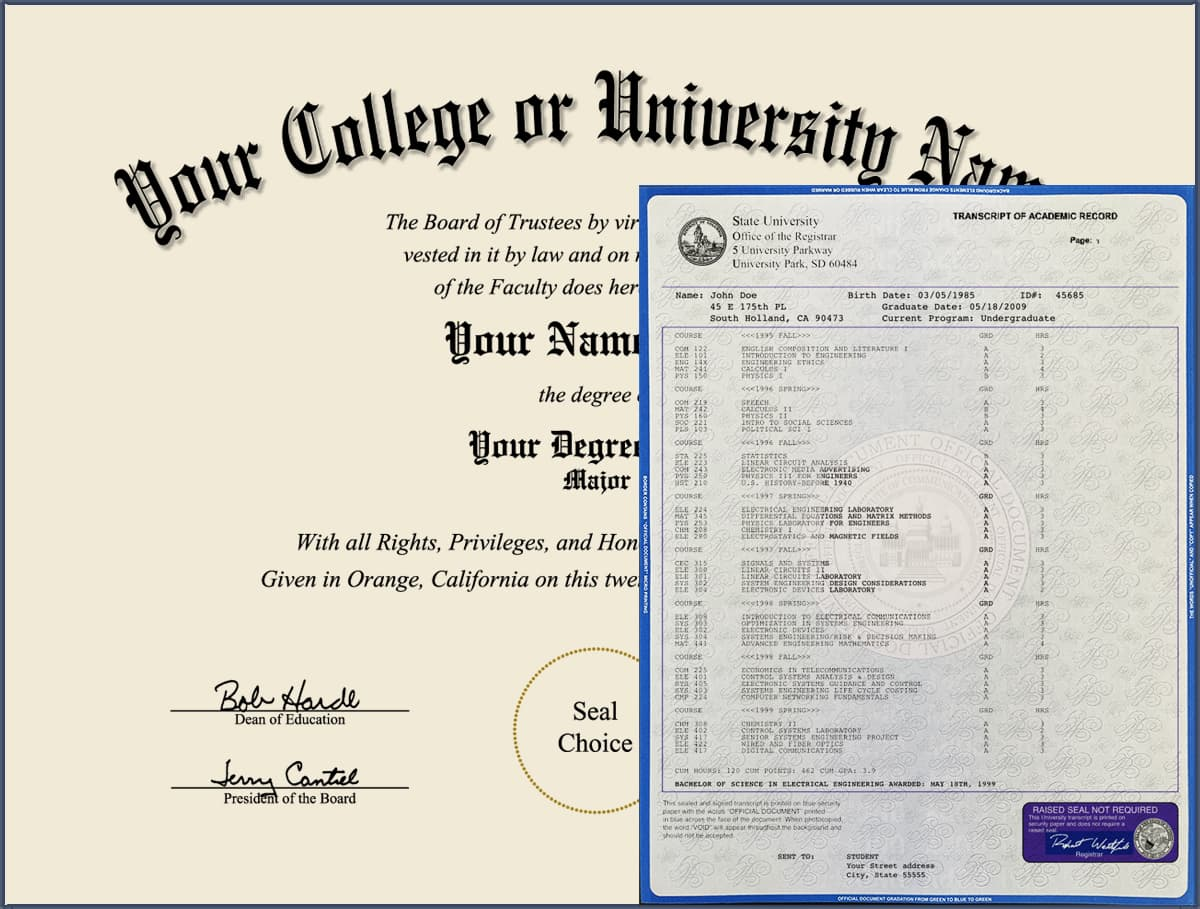 College Diploma - Design 3 with Transcripts COLLEGE_DIPLOMA_NDWT_03