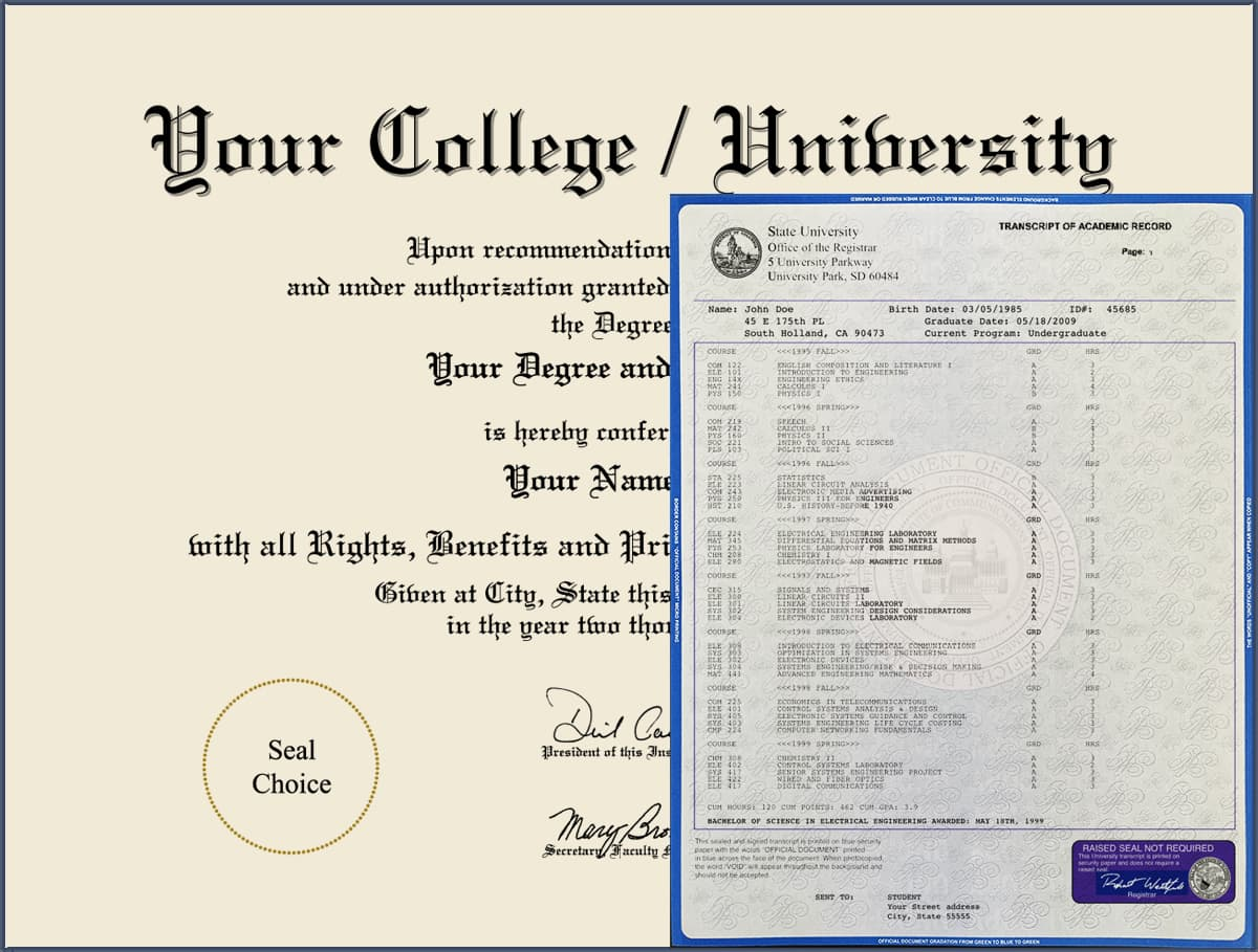 Fake College Diploma - Design 05 with Fake Transcripts