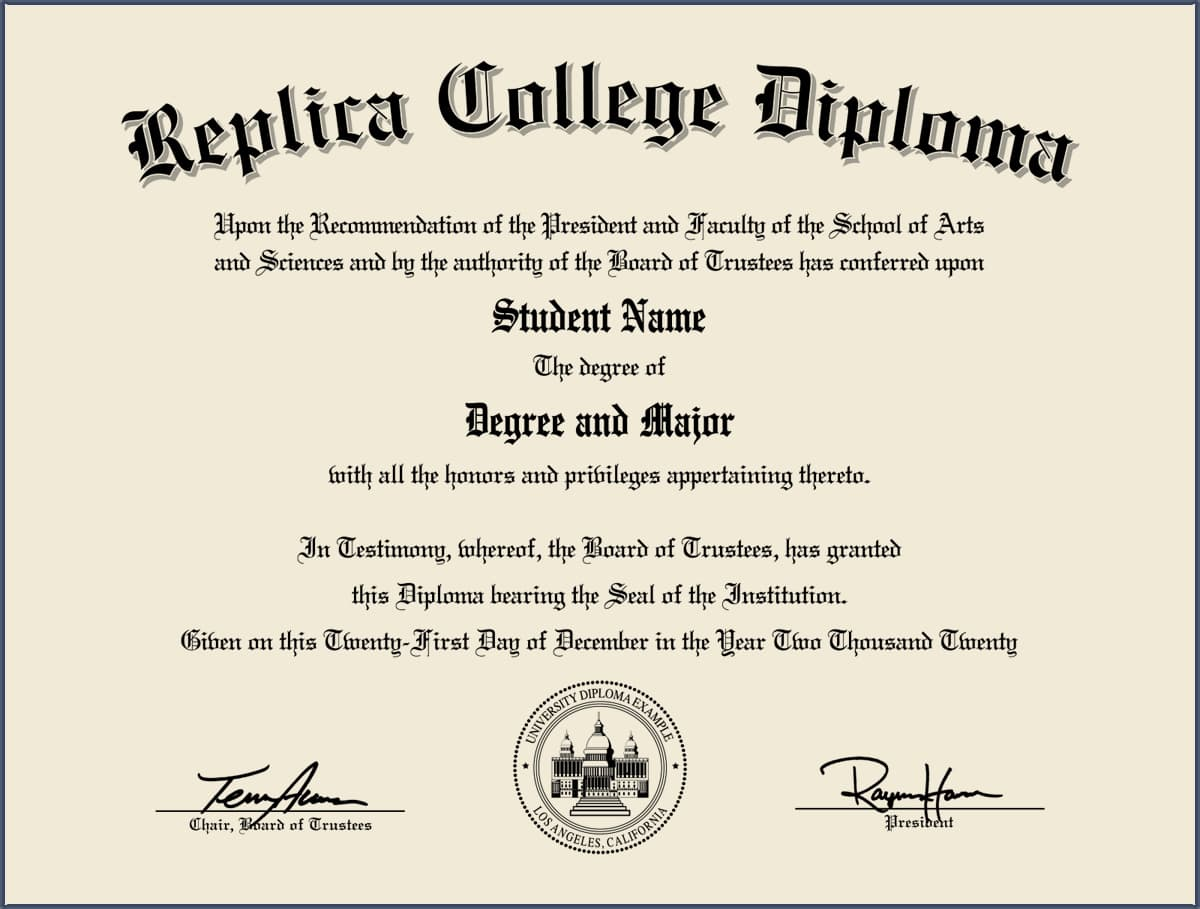 Authentic Fake College Diplomas and Fake College Degrees - Fake ...