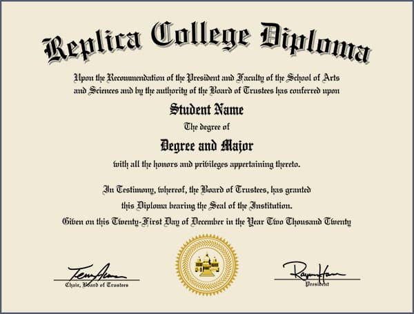 Actual Replica Diploma with Metallic Gold Seal