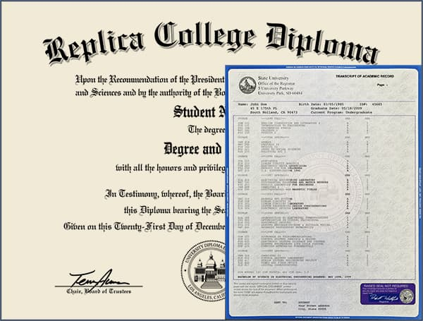 Replica College Diploma with Transcripts COLLEGE_DIPLOMA_WT_01
