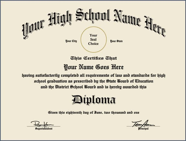 Custom High School Diploma - Match Your Copy HIGH_SCHOOL_CUSTOM01