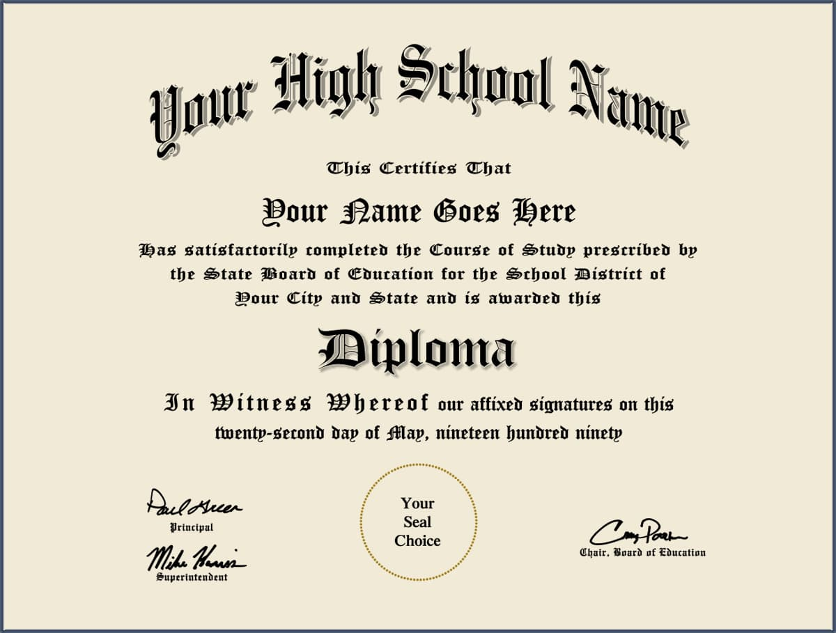 High School diploma?