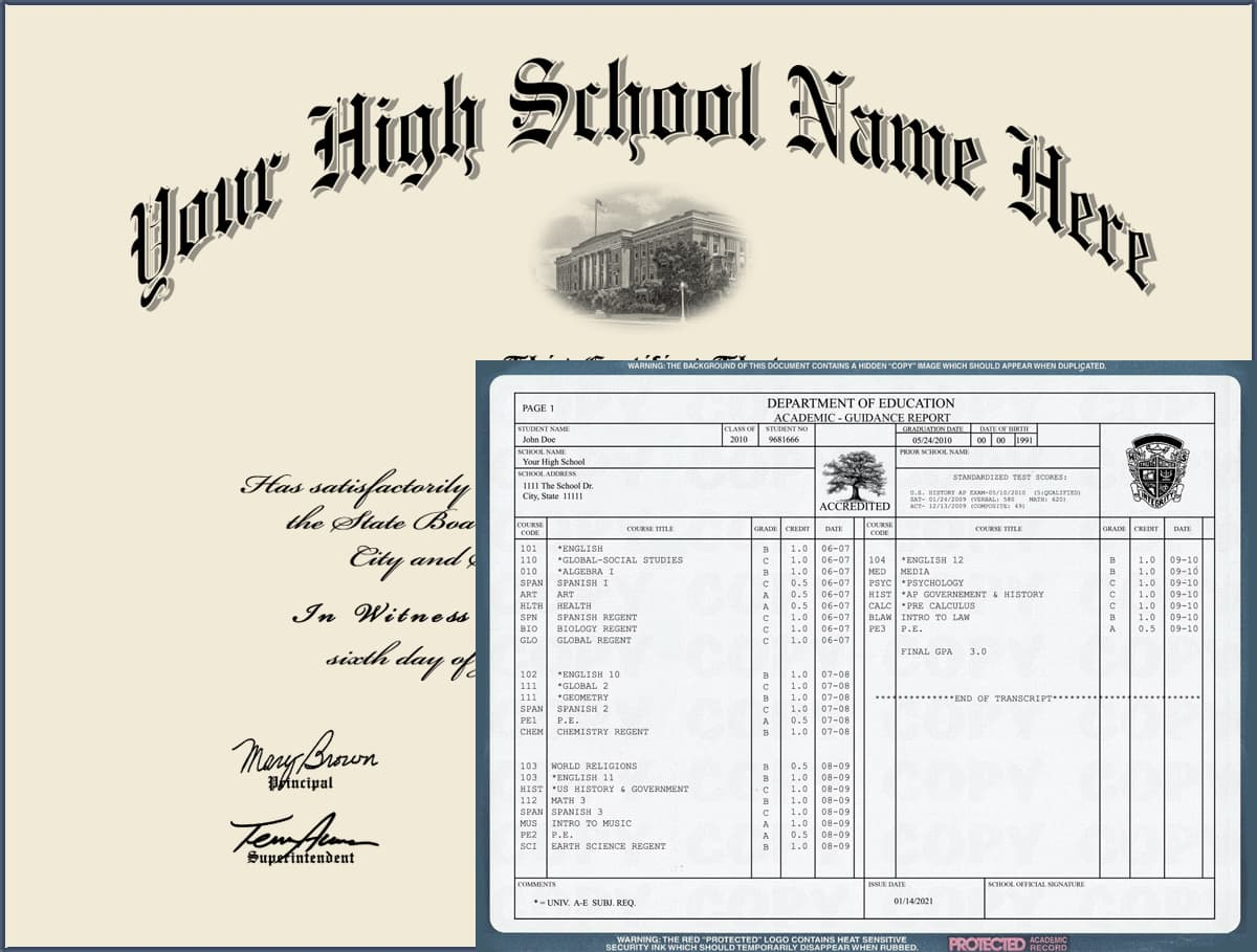 High School Diploma - Design 3 with Transcripts HIGH_SCHOOL_WT_03