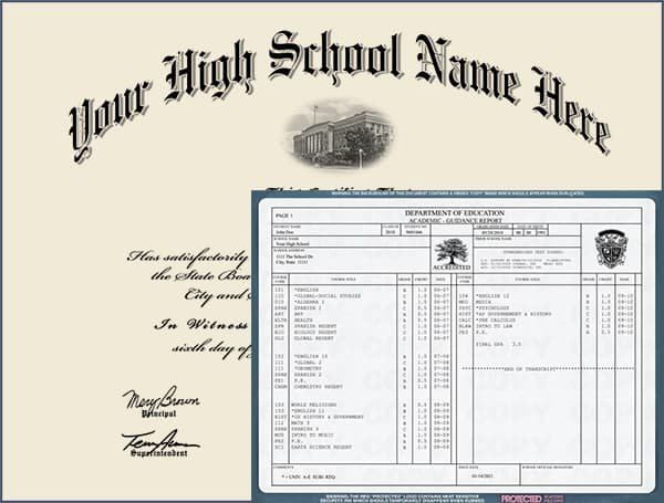 High School Diploma - Design 4 with Transcripts HIGH_SCHOOL_WT_04